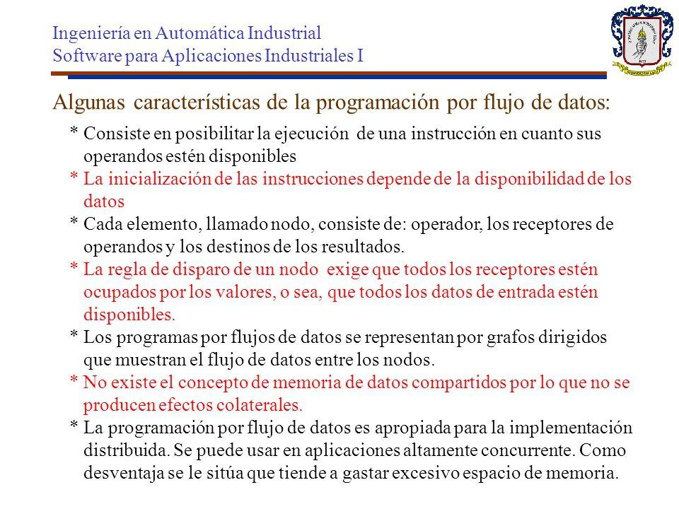 Algunas características de la programación por flujo de datos: