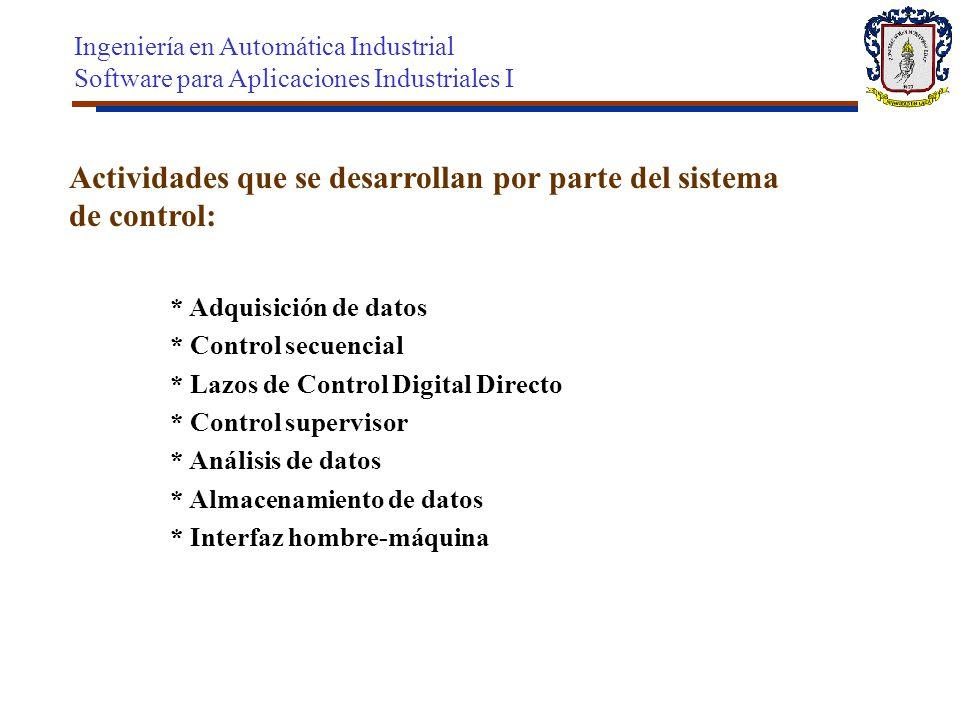 Actividades que se desarrollan por parte del sistema de control: