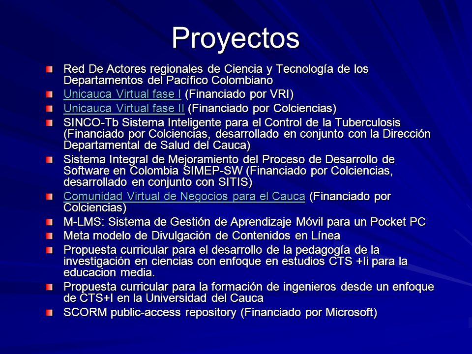 Proyectos Red De Actores regionales de Ciencia y Tecnología de los Departamentos del Pacífico Colombiano.