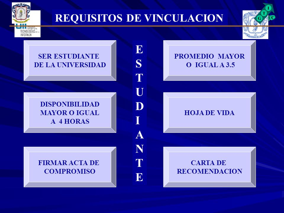 ESTUDIANTE REQUISITOS DE VINCULACION SER ESTUDIANTE DE LA UNIVERSIDAD