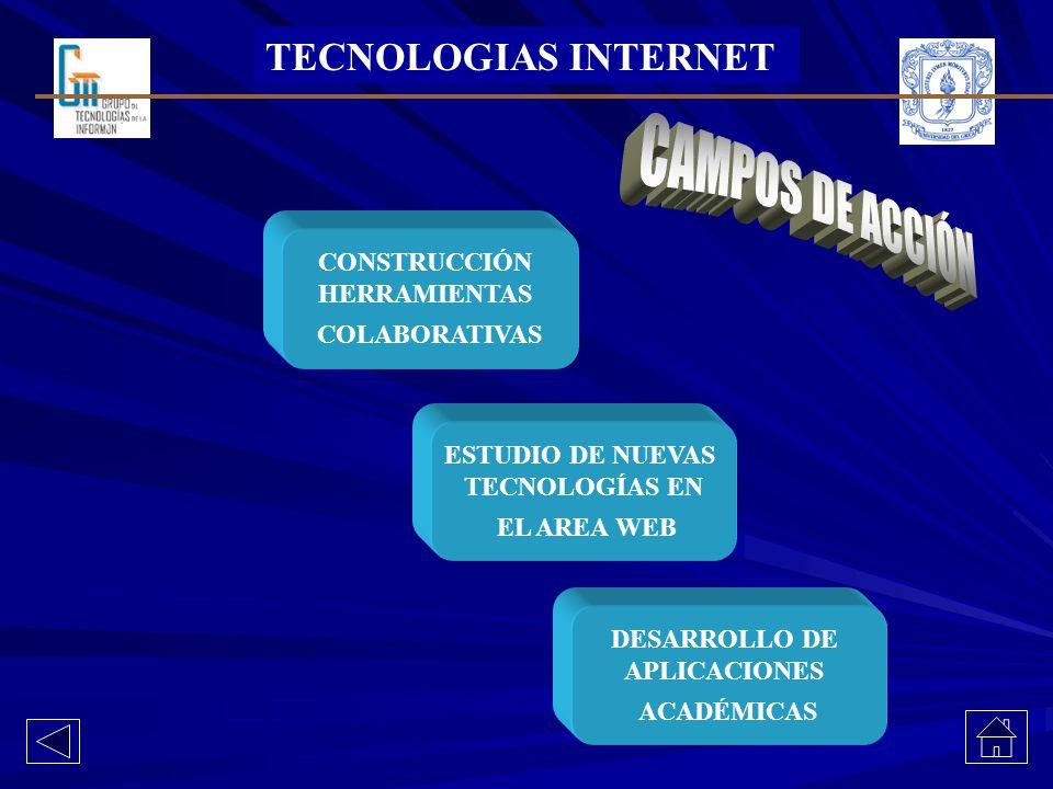 CAMPOS DE ACCIÓN TECNOLOGIAS INTERNET CONSTRUCCIÓN HERRAMIENTAS