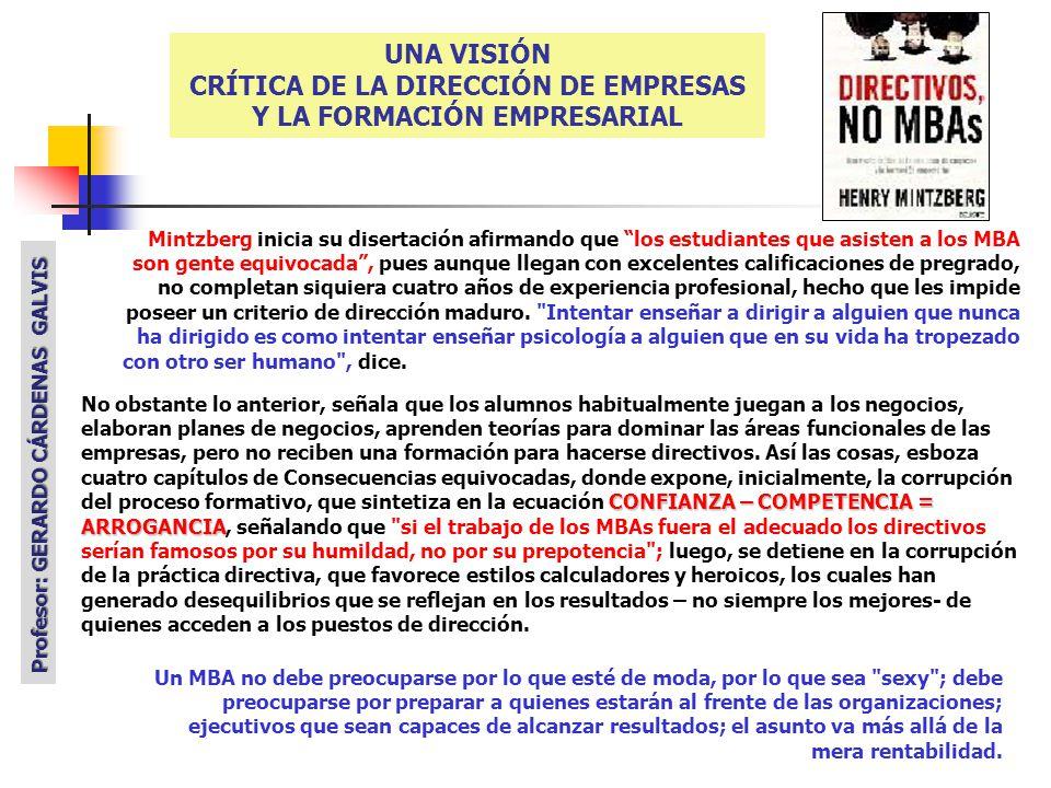 CRÍTICA DE LA DIRECCIÓN DE EMPRESAS Y LA FORMACIÓN EMPRESARIAL