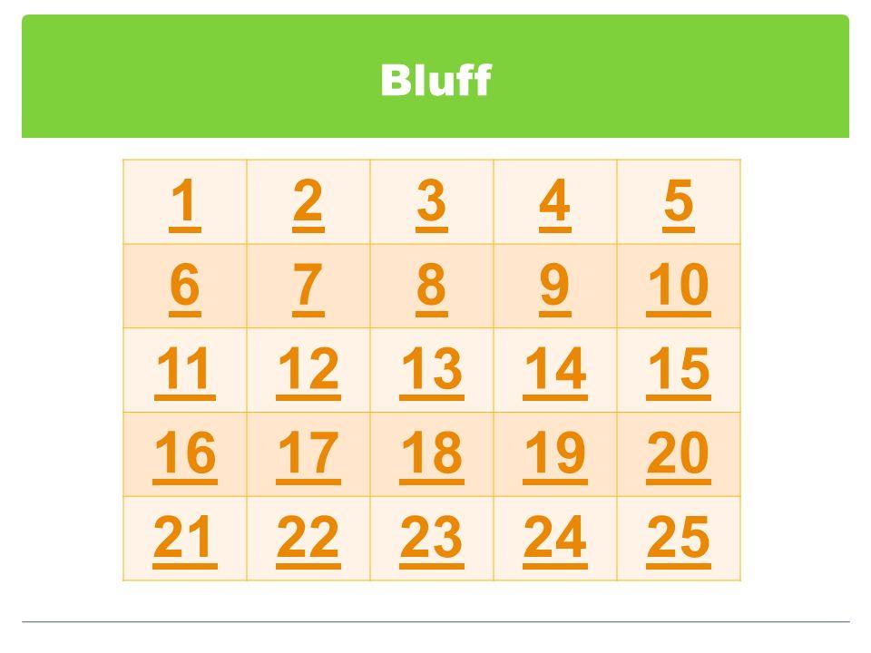 Bluff 1 2 3 4 5 6 7 8 9 10 11 12 13 14 15 16 17 18 19 20 21 22 23 24 25