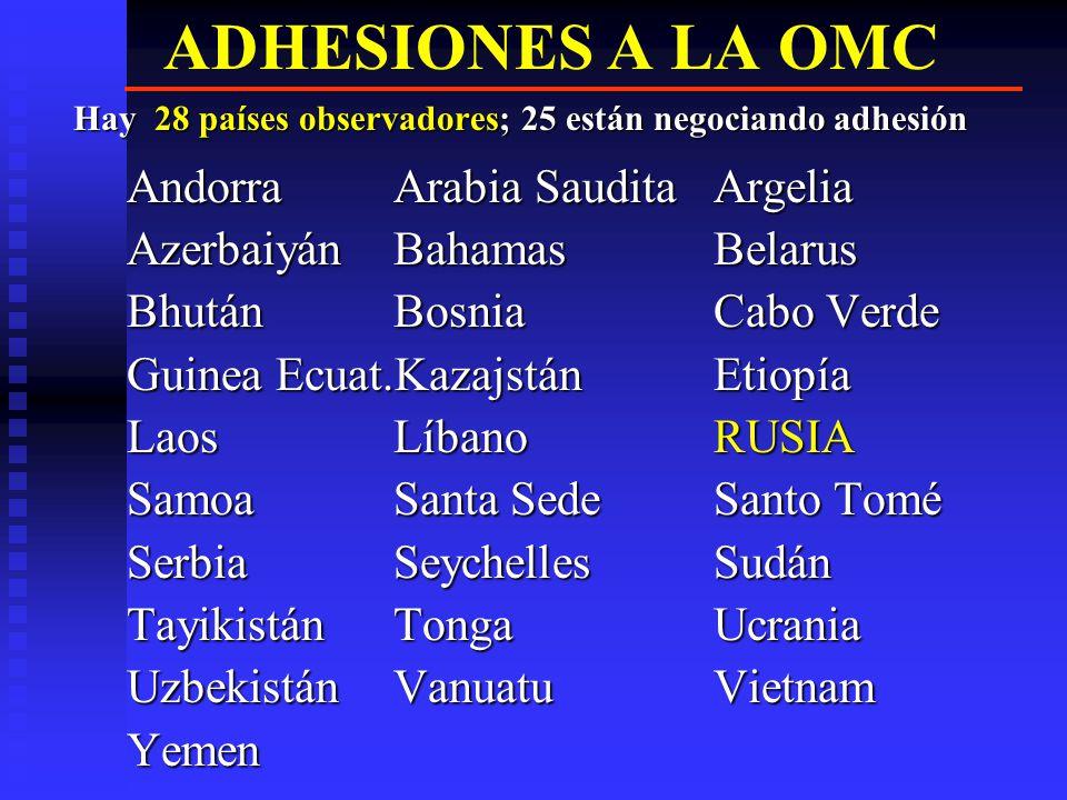 ADHESIONES A LA OMC Andorra Arabia Saudita Argelia