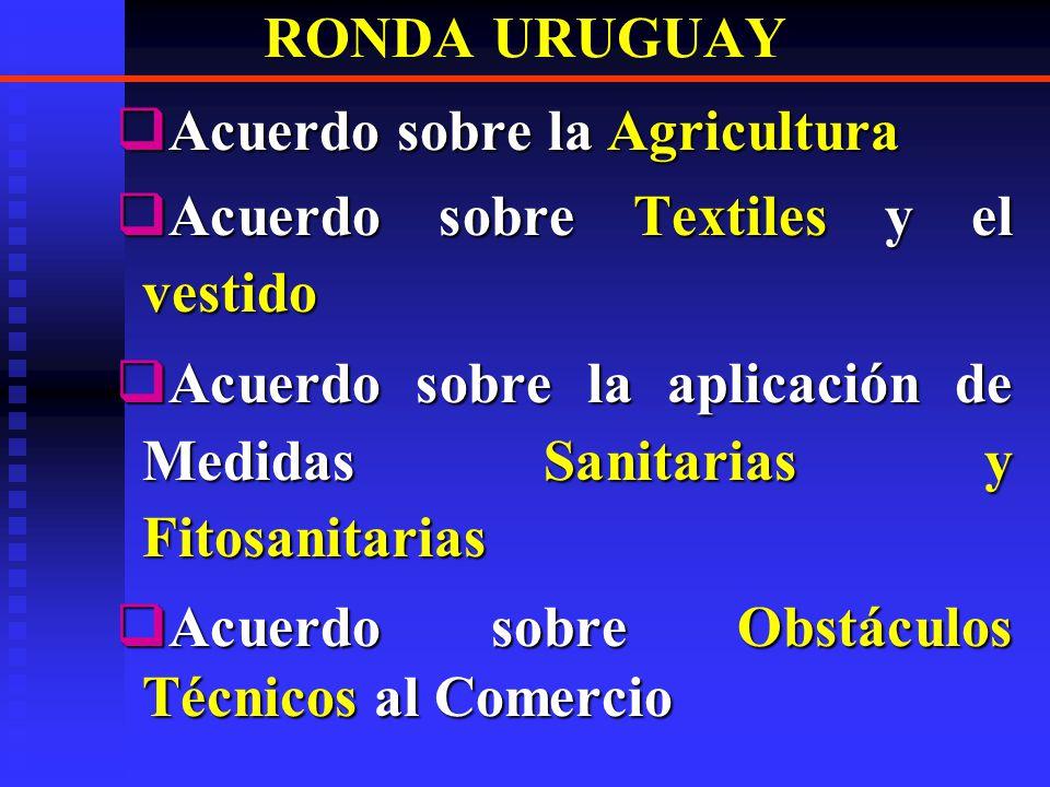 RONDA URUGUAY Acuerdo sobre la Agricultura. Acuerdo sobre Textiles y el vestido. Acuerdo sobre la aplicación de Medidas Sanitarias y Fitosanitarias.