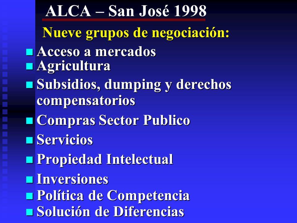 ALCA – San José 1998 Acceso a mercados Agricultura