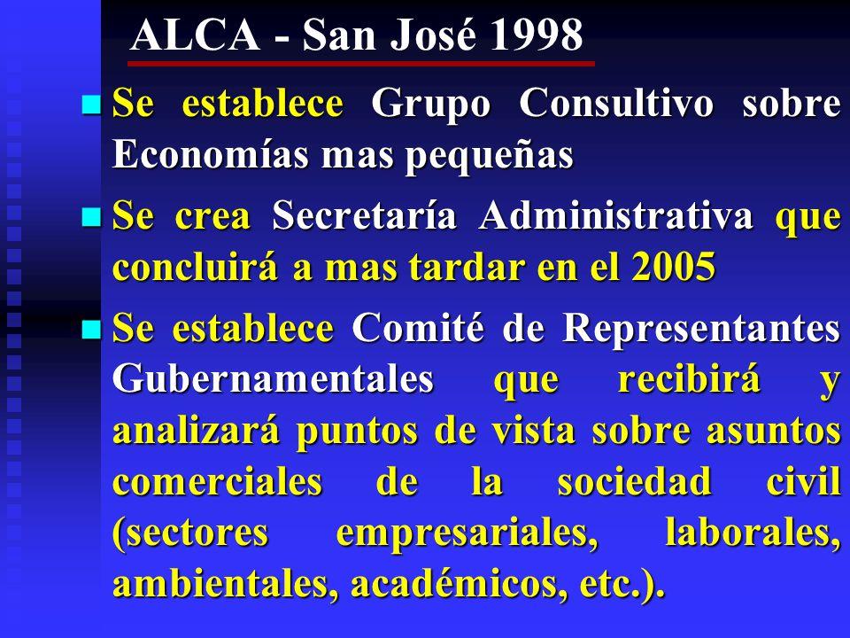 ALCA - San José 1998 Se establece Grupo Consultivo sobre Economías mas pequeñas.