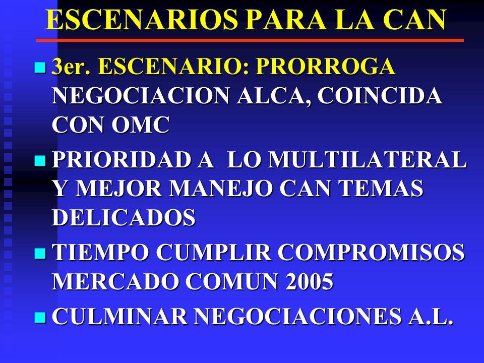 ESCENARIOS PARA LA CAN 3er. ESCENARIO: PRORROGA NEGOCIACION ALCA, COINCIDA CON OMC. PRIORIDAD A LO MULTILATERAL Y MEJOR MANEJO CAN TEMAS DELICADOS.