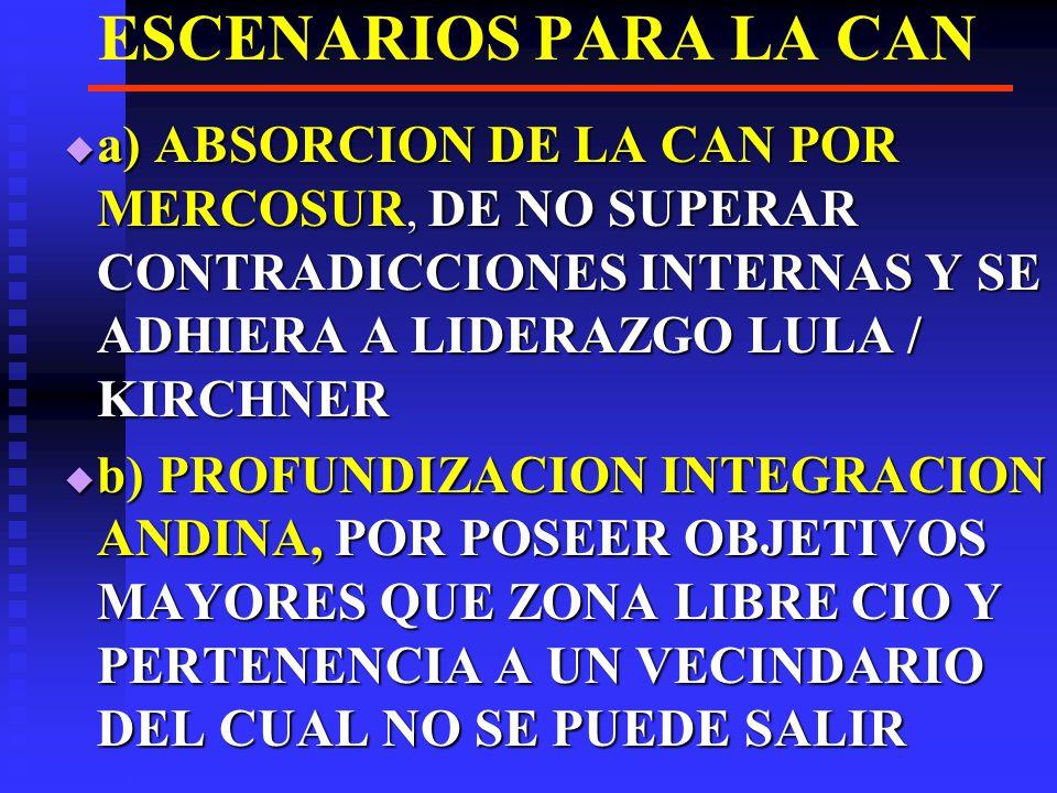 ESCENARIOS PARA LA CAN a) ABSORCION DE LA CAN POR MERCOSUR, DE NO SUPERAR CONTRADICCIONES INTERNAS Y SE ADHIERA A LIDERAZGO LULA / KIRCHNER.