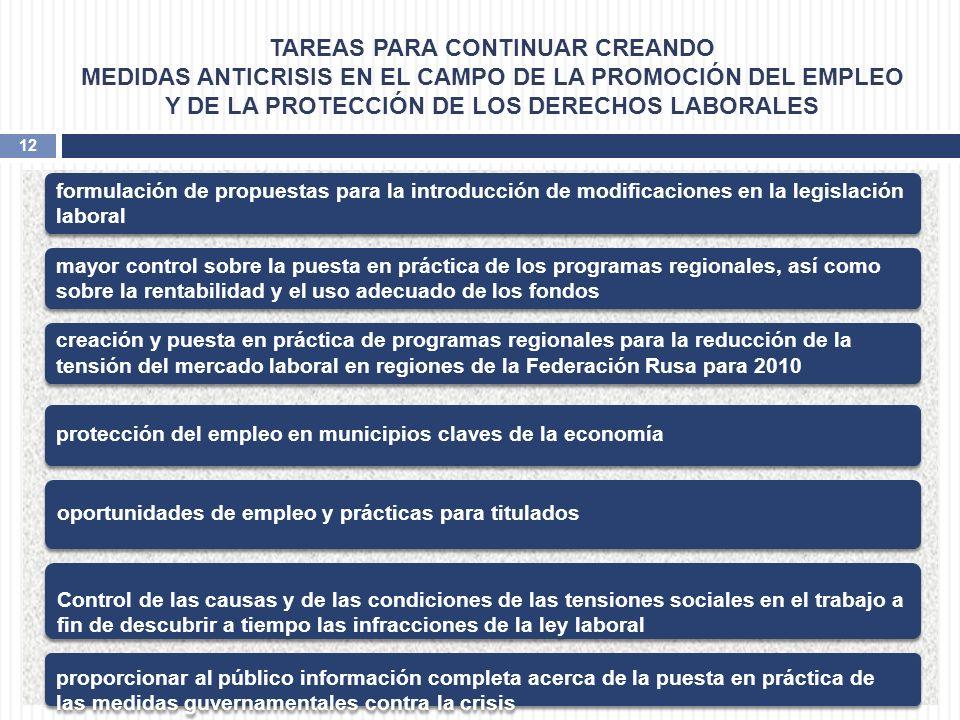 TAREAS PARA CONTINUAR CREANDO MEDIDAS ANTICRISIS EN EL CAMPO DE LA PROMOCIÓN DEL EMPLEO Y DE LA PROTECCIÓN DE LOS DERECHOS LABORALES