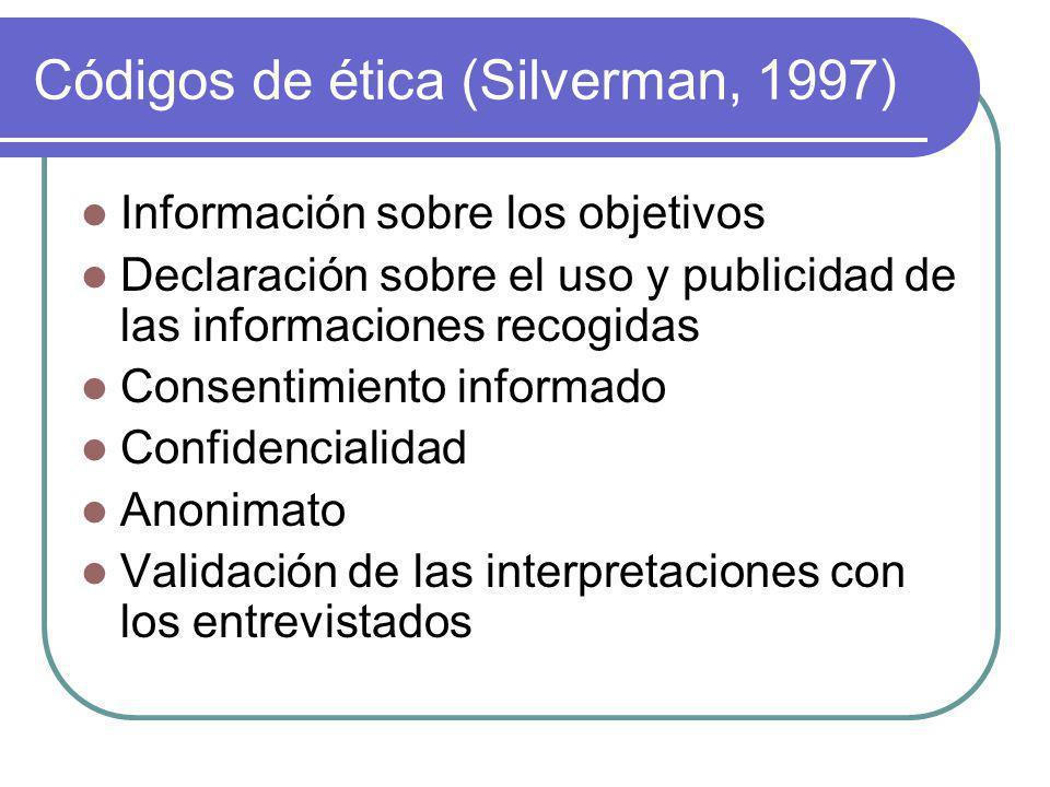 Códigos de ética (Silverman, 1997)