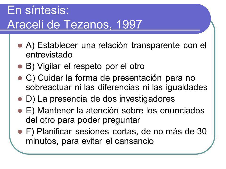 En síntesis: Araceli de Tezanos, 1997
