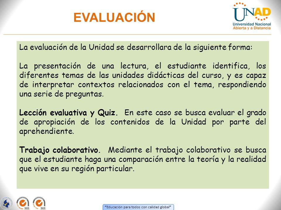 EVALUACIÓN La evaluación de la Unidad se desarrollara de la siguiente forma: