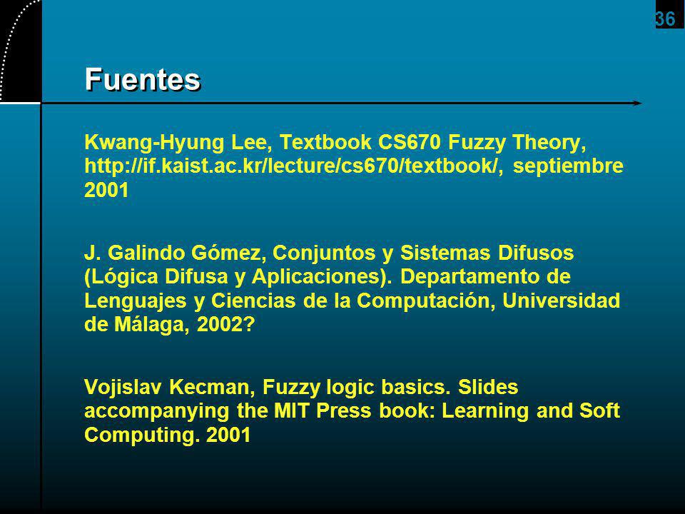 2017/4/1 Fuentes. Kwang-Hyung Lee, Textbook CS670 Fuzzy Theory, http://if.kaist.ac.kr/lecture/cs670/textbook/, septiembre 2001.