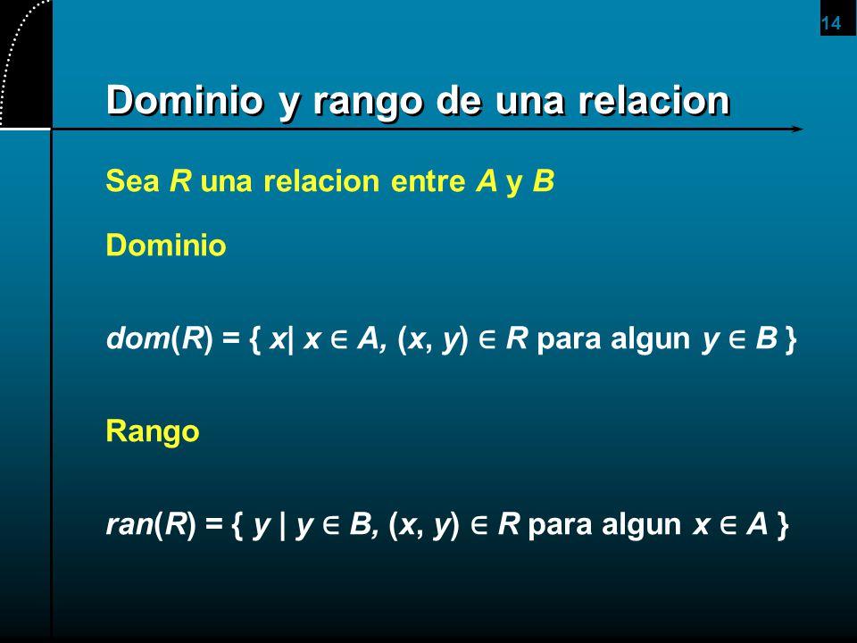 Dominio y rango de una relacion