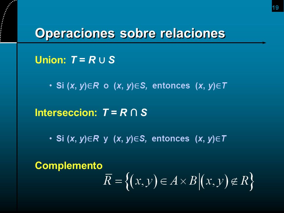 Operaciones sobre relaciones