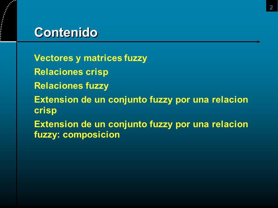 Contenido Vectores y matrices fuzzy Relaciones crisp Relaciones fuzzy