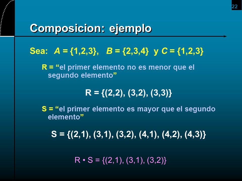 Composicion: ejemplo Sea: A = {1,2,3}, B = {2,3,4} y C = {1,2,3}