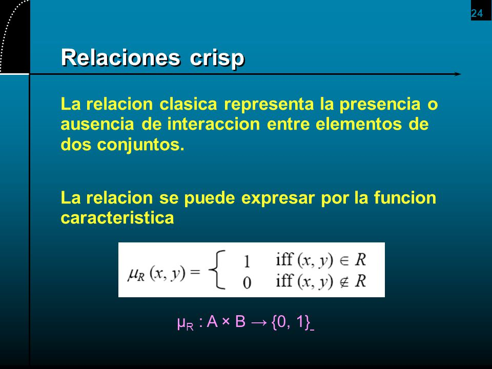 2017/4/1 Relaciones crisp. La relacion clasica representa la presencia o ausencia de interaccion entre elementos de dos conjuntos.