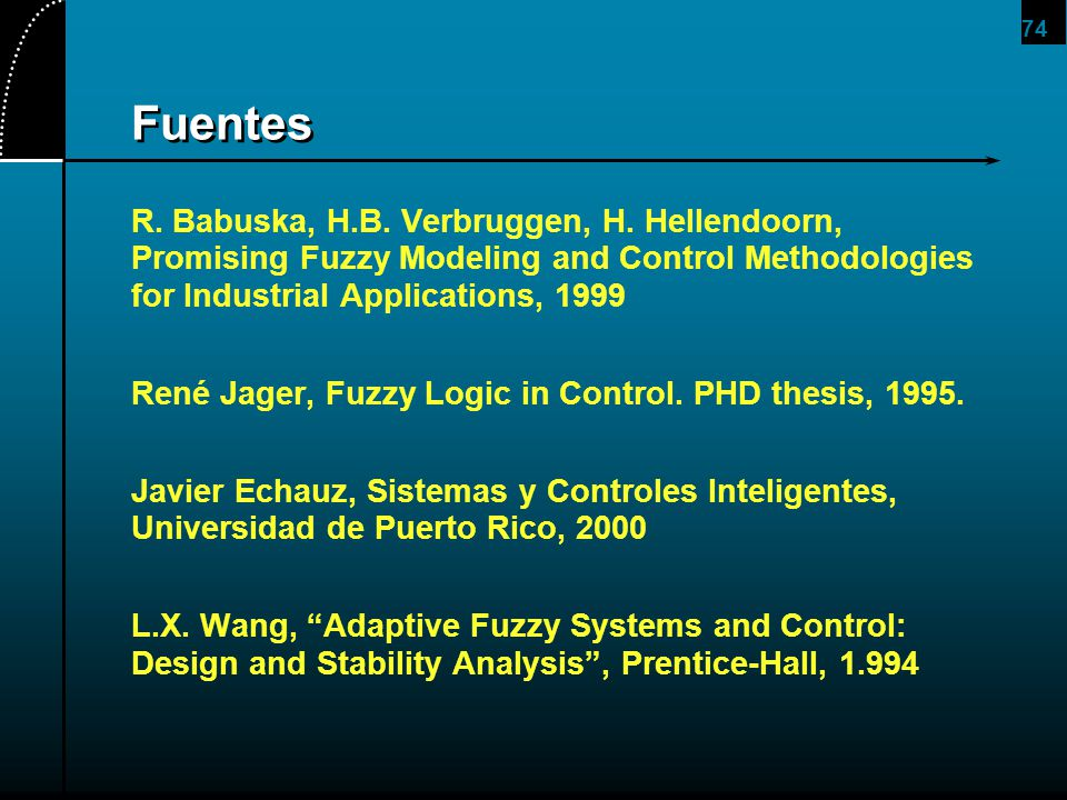 2017/4/1 Fuentes. R. Babuska, H.B. Verbruggen, H. Hellendoorn, Promising Fuzzy Modeling and Control Methodologies for Industrial Applications, 1999.