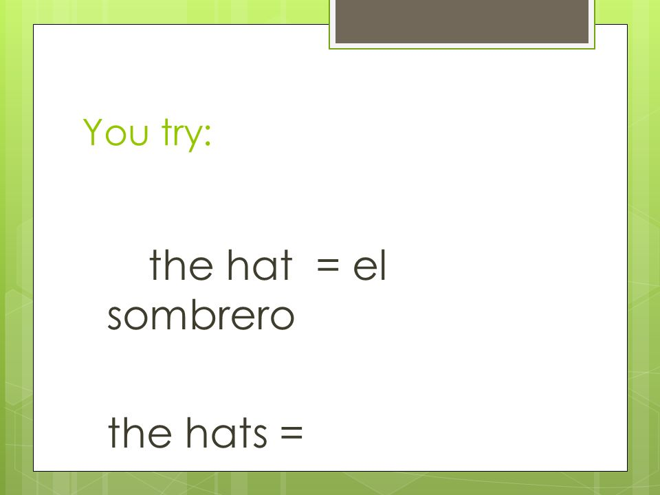 the hat = el sombrero the hats = _______________