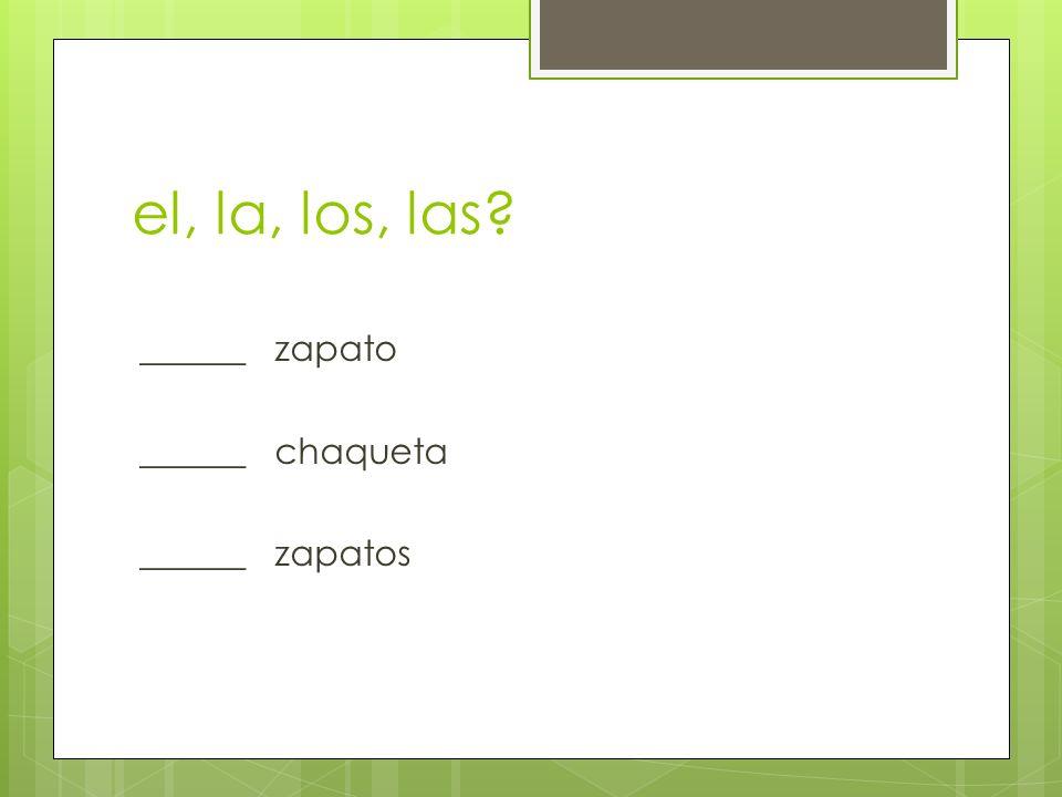 el, la, los, las ______ zapato ______ chaqueta ______ zapatos