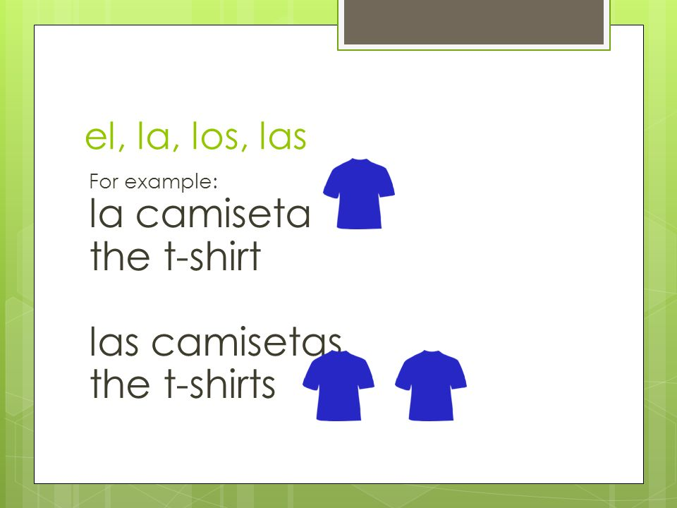 la camiseta the t-shirt las camisetas the t-shirts el, la, los, las