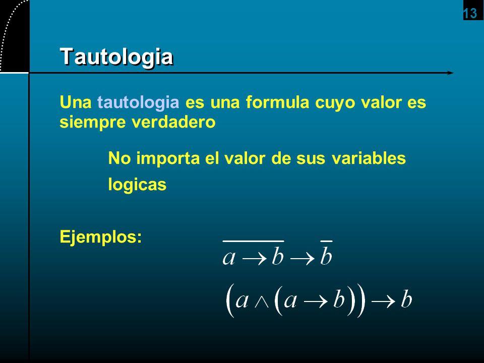2017/4/1 Tautologia. Una tautologia es una formula cuyo valor es siempre verdadero. No importa el valor de sus variables.