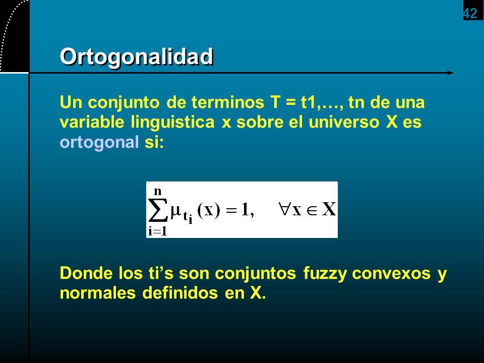 2017/4/1 Ortogonalidad. Un conjunto de terminos T = t1,…, tn de una variable linguistica x sobre el universo X es ortogonal si: