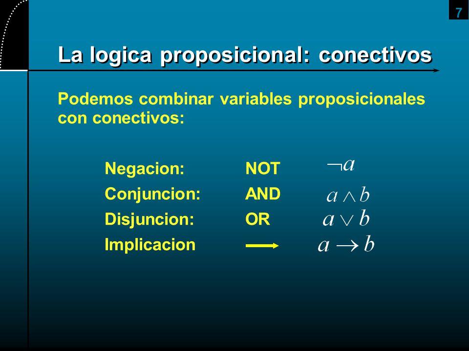 La logica proposicional: conectivos