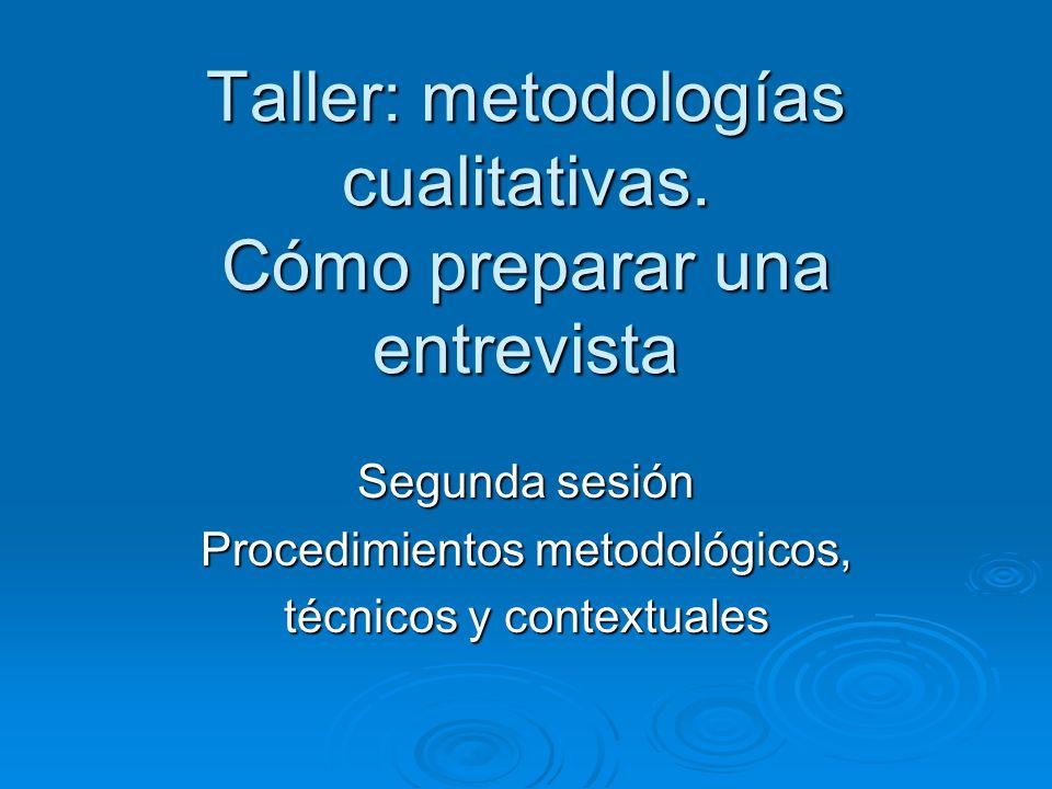 Taller: metodologías cualitativas. Cómo preparar una entrevista
