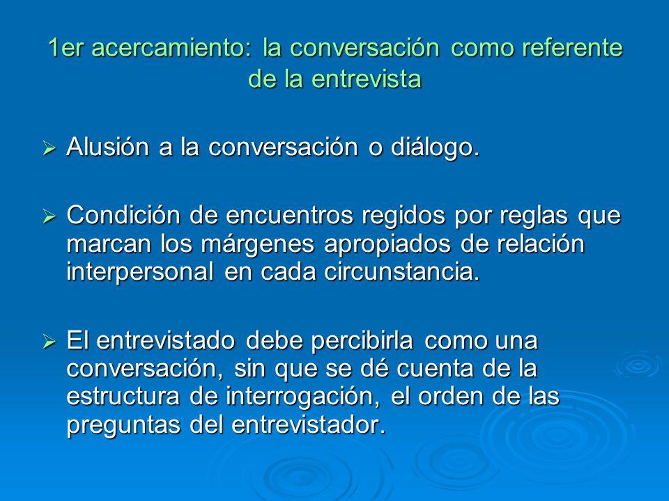 1er acercamiento: la conversación como referente de la entrevista