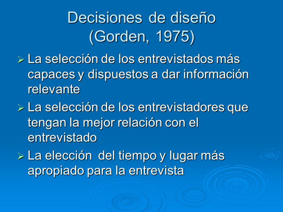 Decisiones de diseño (Gorden, 1975)