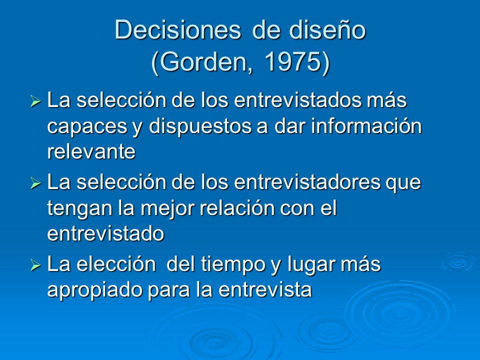 Decisiones de diseño (Gorden, 1975)