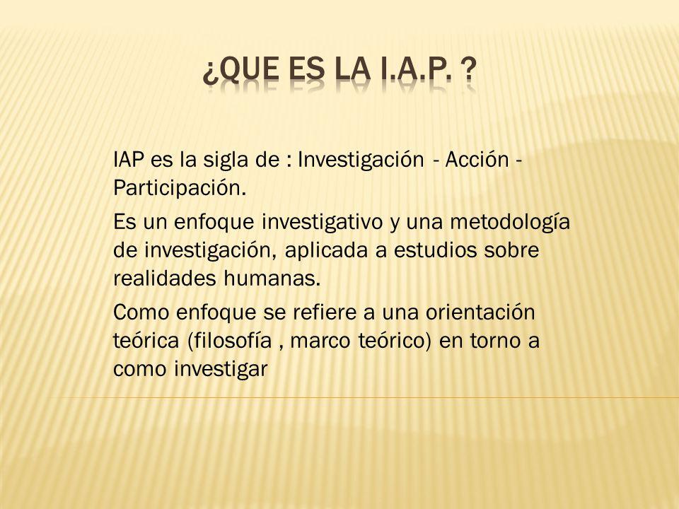 ¿QUE ES LA I.A.P. IAP es la sigla de : Investigación - Acción - Participación.