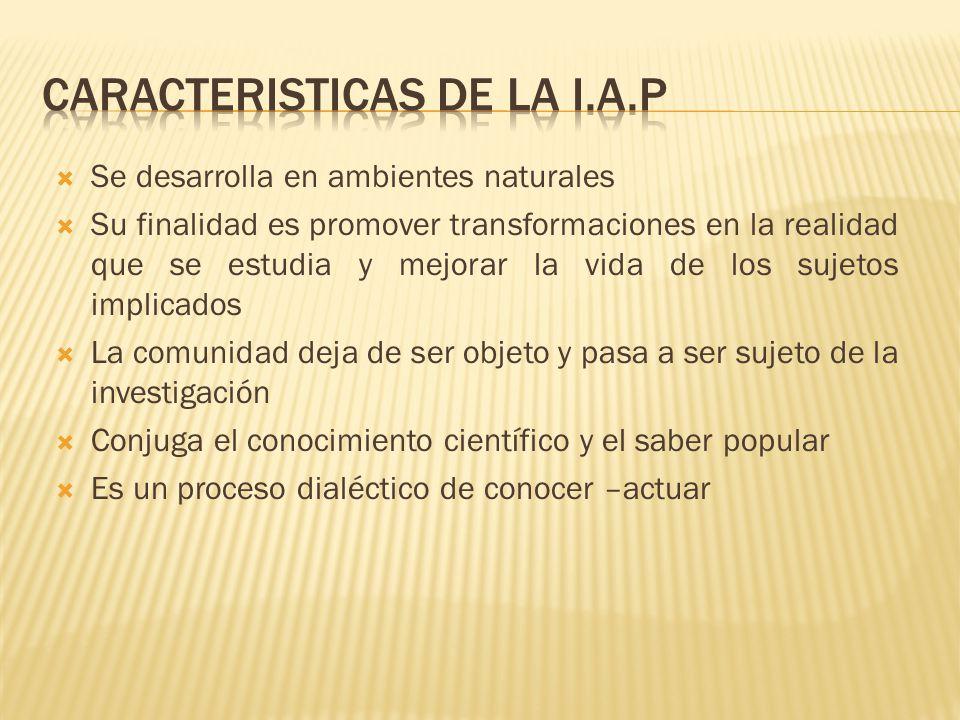 CARACTERISTICAS DE LA I.A.P