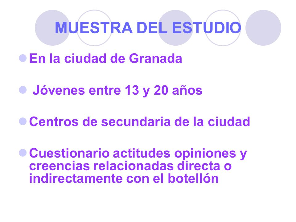 MUESTRA DEL ESTUDIO En la ciudad de Granada Jóvenes entre 13 y 20 años