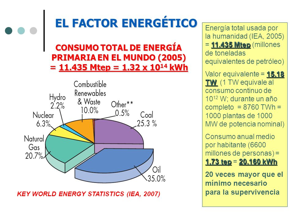 EL FACTOR ENERGÉTICOEnergía total usada por la humanidad (IEA, 2005) = 11.435 Mtep (millones de toneladas equivalentes de petróleo)