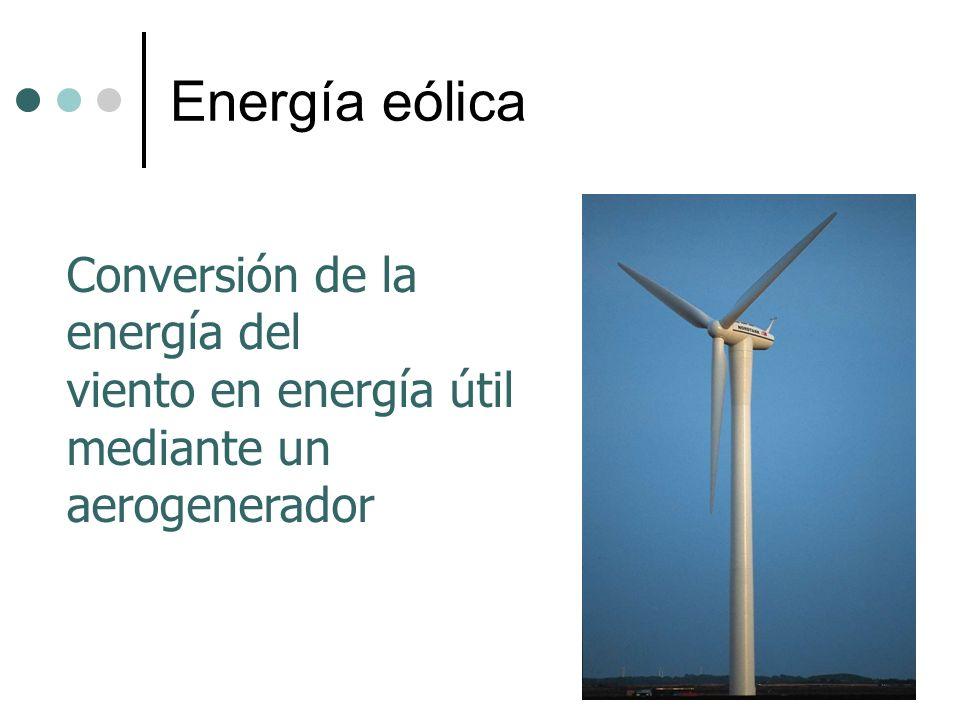 Energía eólica Conversión de la energía del viento en energía útil