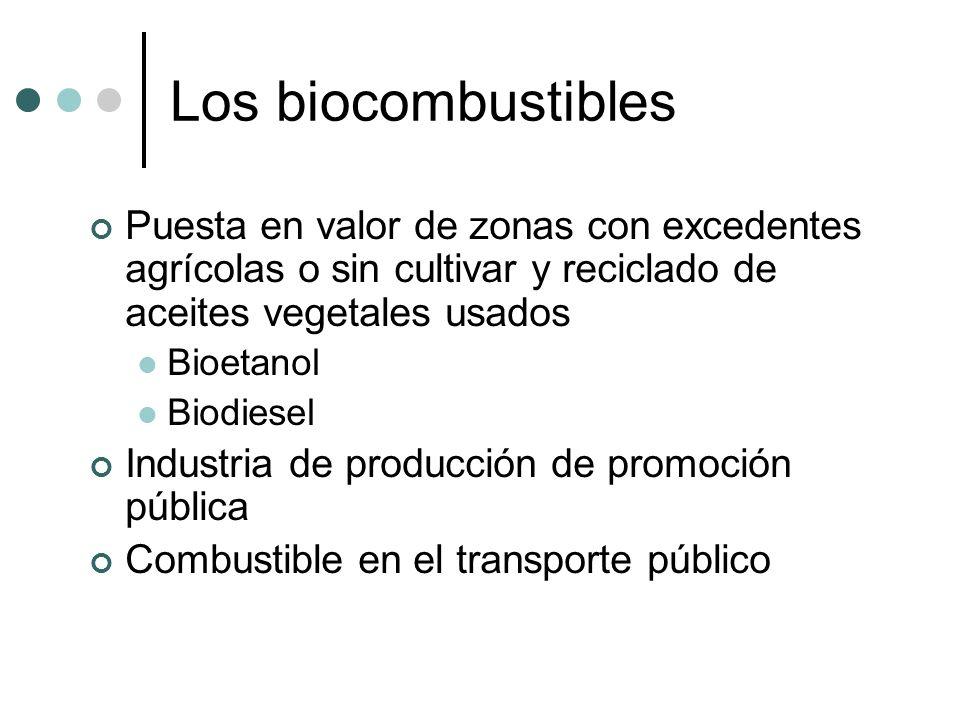 Los biocombustiblesPuesta en valor de zonas con excedentes agrícolas o sin cultivar y reciclado de aceites vegetales usados.
