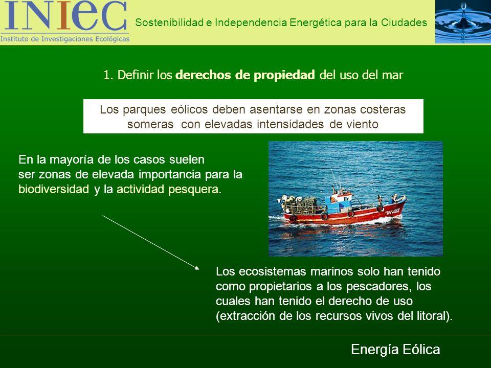 Energía Eólica 1. Definir los derechos de propiedad del uso del mar