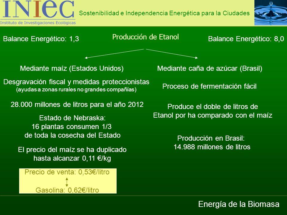Energía de la Biomasa Producción de Etanol Balance Energético: 1,3