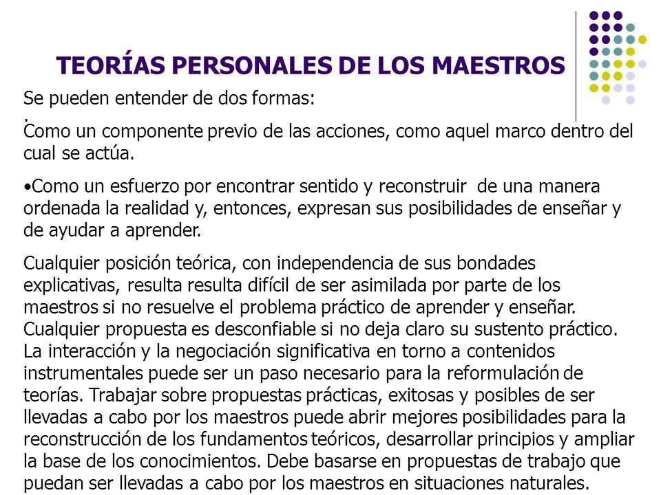 TEORÍAS PERSONALES DE LOS MAESTROS