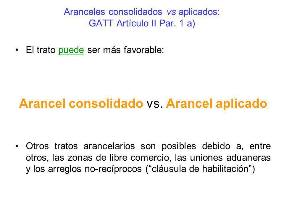 Aranceles consolidados vs aplicados: GATT Artículo II Par. 1 a)