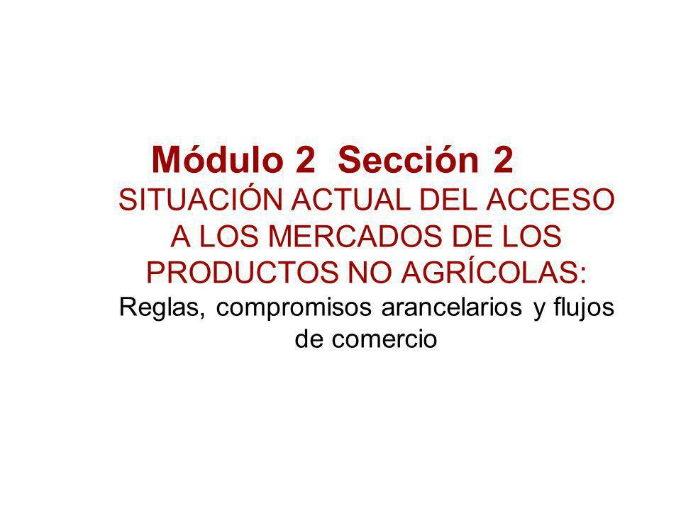 Módulo 2 Sección 2 SITUACIÓN ACTUAL DEL ACCESO A LOS MERCADOS DE LOS PRODUCTOS NO AGRÍCOLAS: Reglas, compromisos arancelarios y flujos de comercio