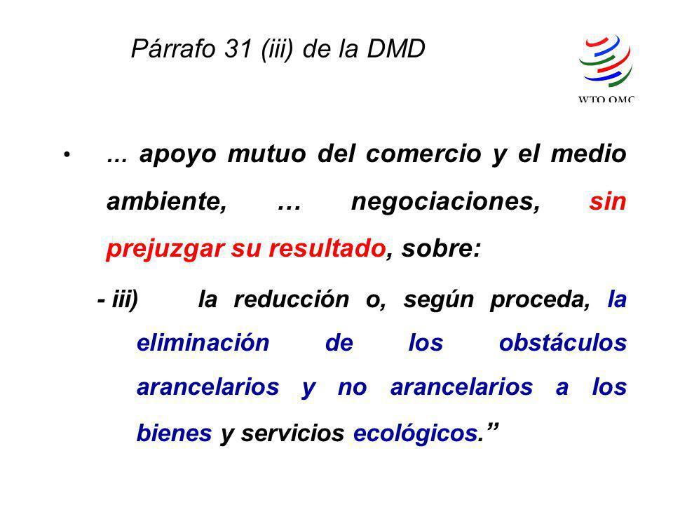 Párrafo 31 (iii) de la DMD … apoyo mutuo del comercio y el medio ambiente, … negociaciones, sin prejuzgar su resultado, sobre: