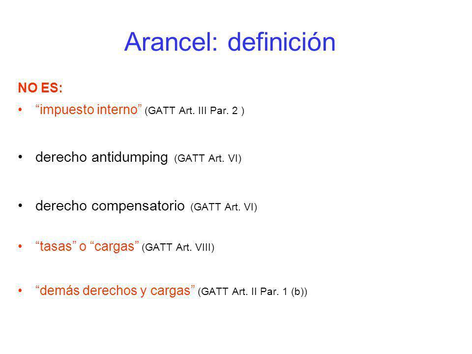 Arancel: definición derecho antidumping (GATT Art. VI)