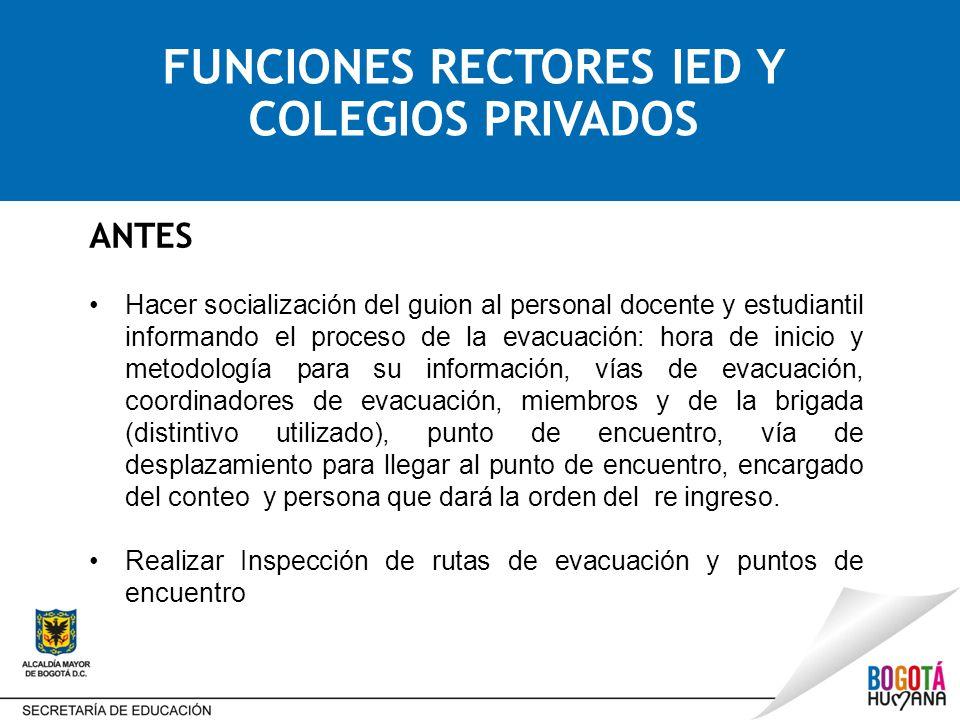 FUNCIONES RECTORES IED Y COLEGIOS PRIVADOS