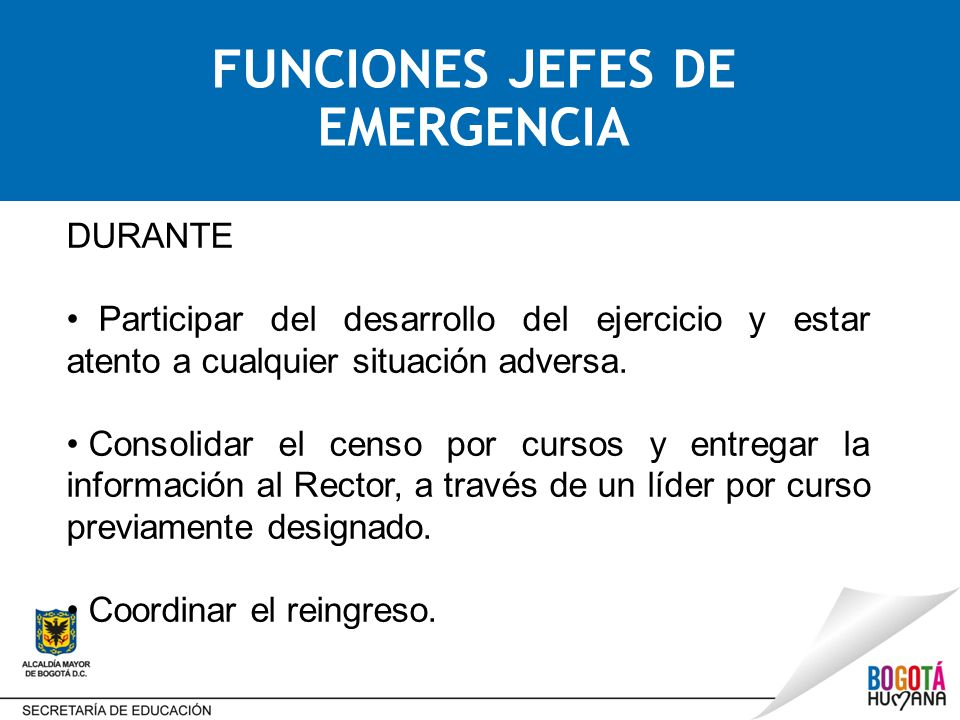 FUNCIONES JEFES DE EMERGENCIA