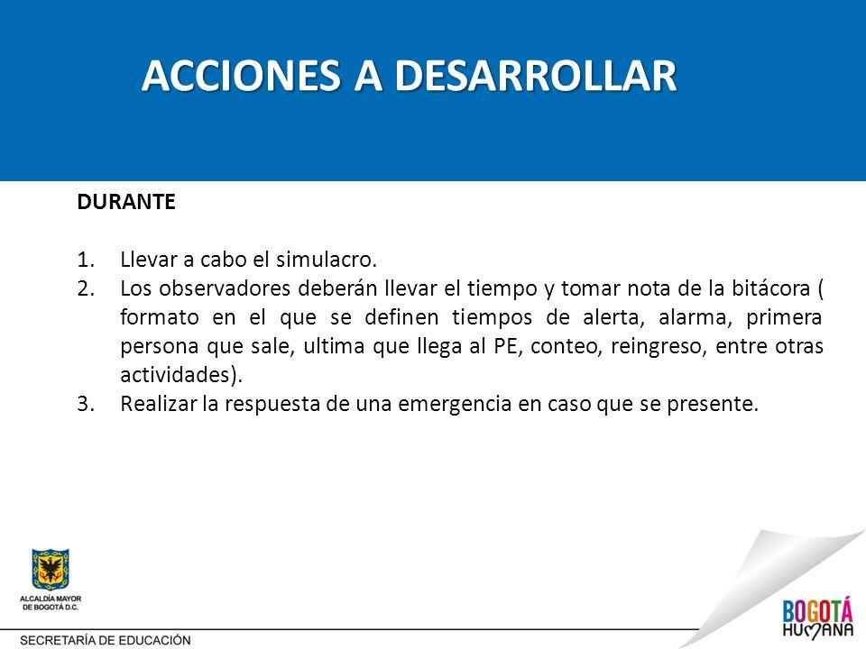ACCIONES A DESARROLLAR